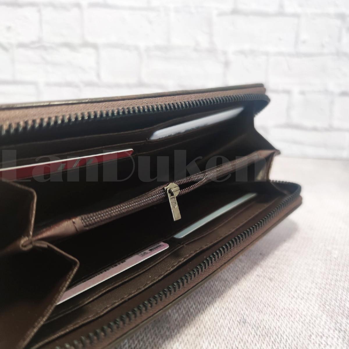 Портмоне со съемной визитницей кошелек кожаный темно-коричневый 341 - фото 5