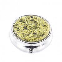 Таблетница с делителем на 3 отсека (утро, день, вечер) из змеевика цвет серебро