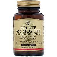 Фолиевая кислота, 400 мкг, 250 таблеток, Солгар