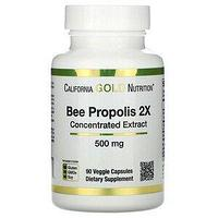 California Gold Nutrition, Прополис 2X, концентрированный экстракт, 500 мг, 90 растительных капсул