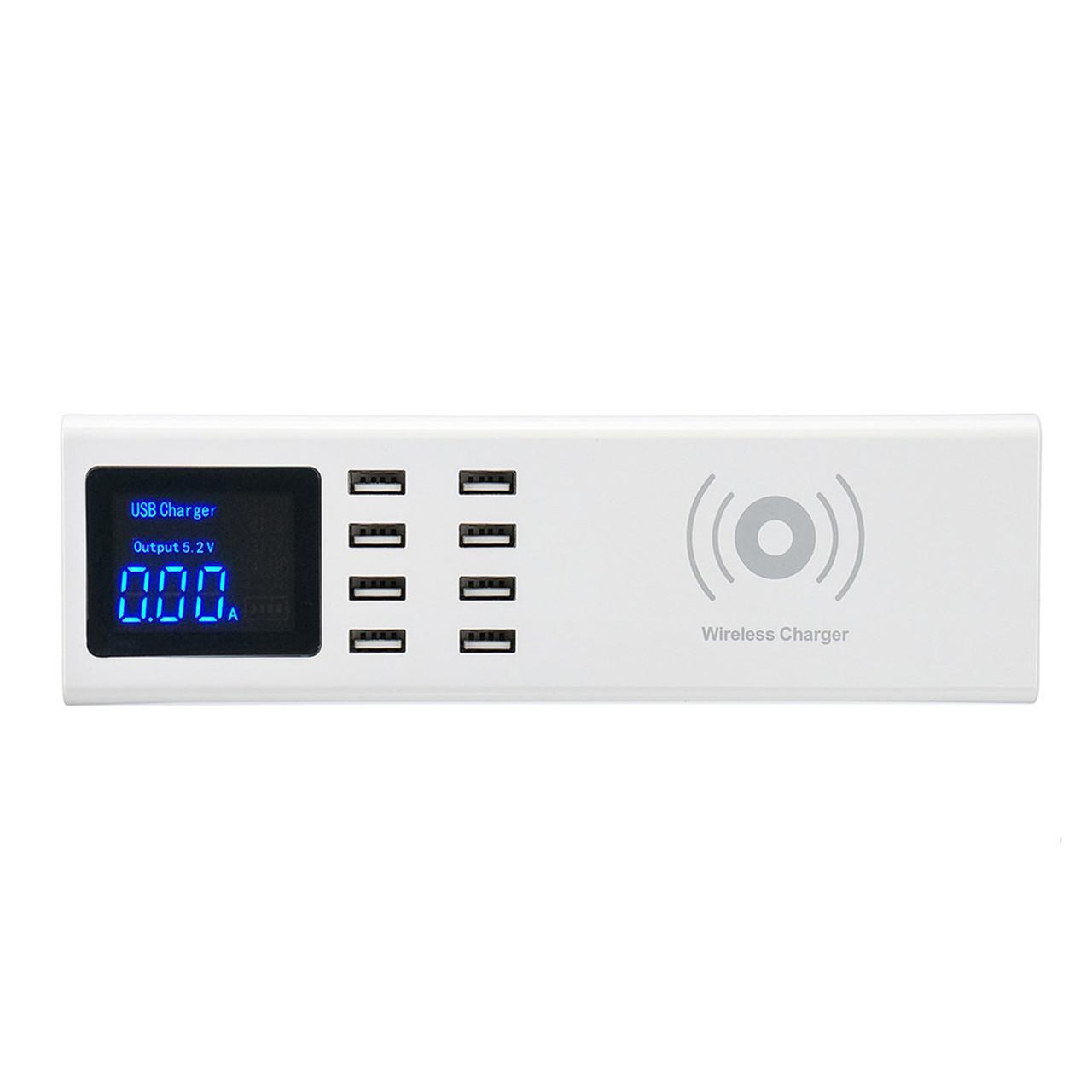 Сетевое зарядное устройство + беспроводное зарядное устройство CD-A23W 8XUSB 8A/40W, White