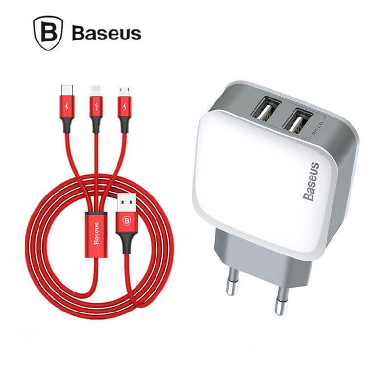 Сетевое зарядное устройство Baseus TZCL-D92 Dual USB Charger 3-in1 Cable (iP+Micro+Type-C) White/Red