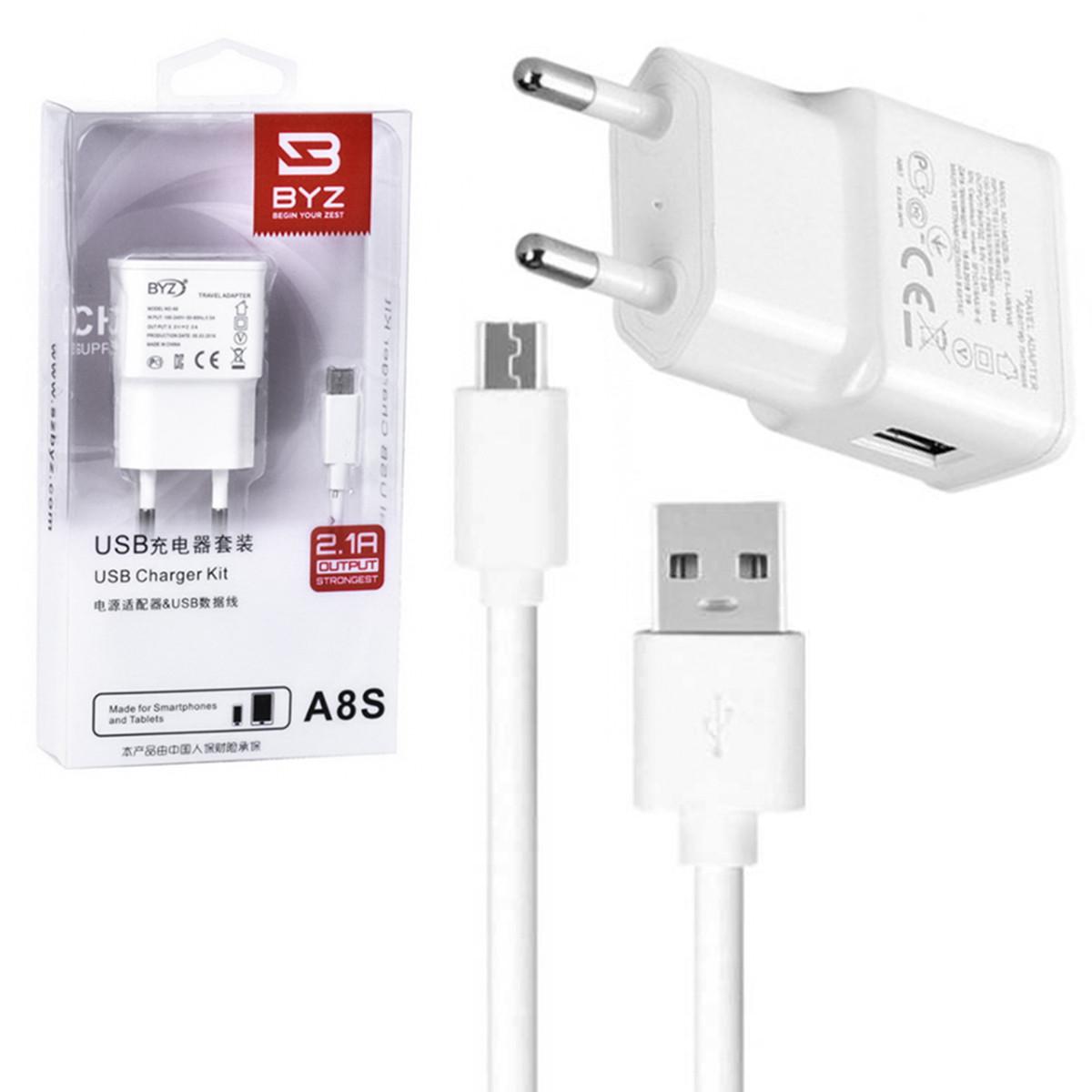 Сетевое зарядное устройство BYZ A8S с кабелем micro USB 2.1A White