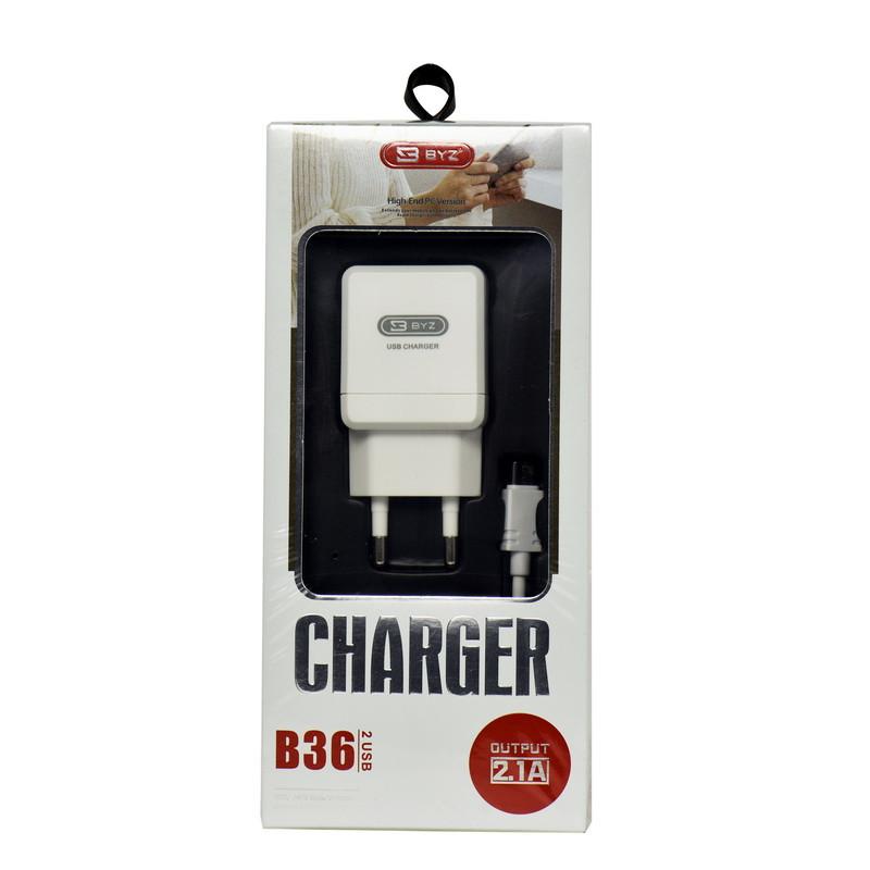 Сетевое зарядное устройство BYZ B36 2 USB с кабелем micro USB 2.1A White