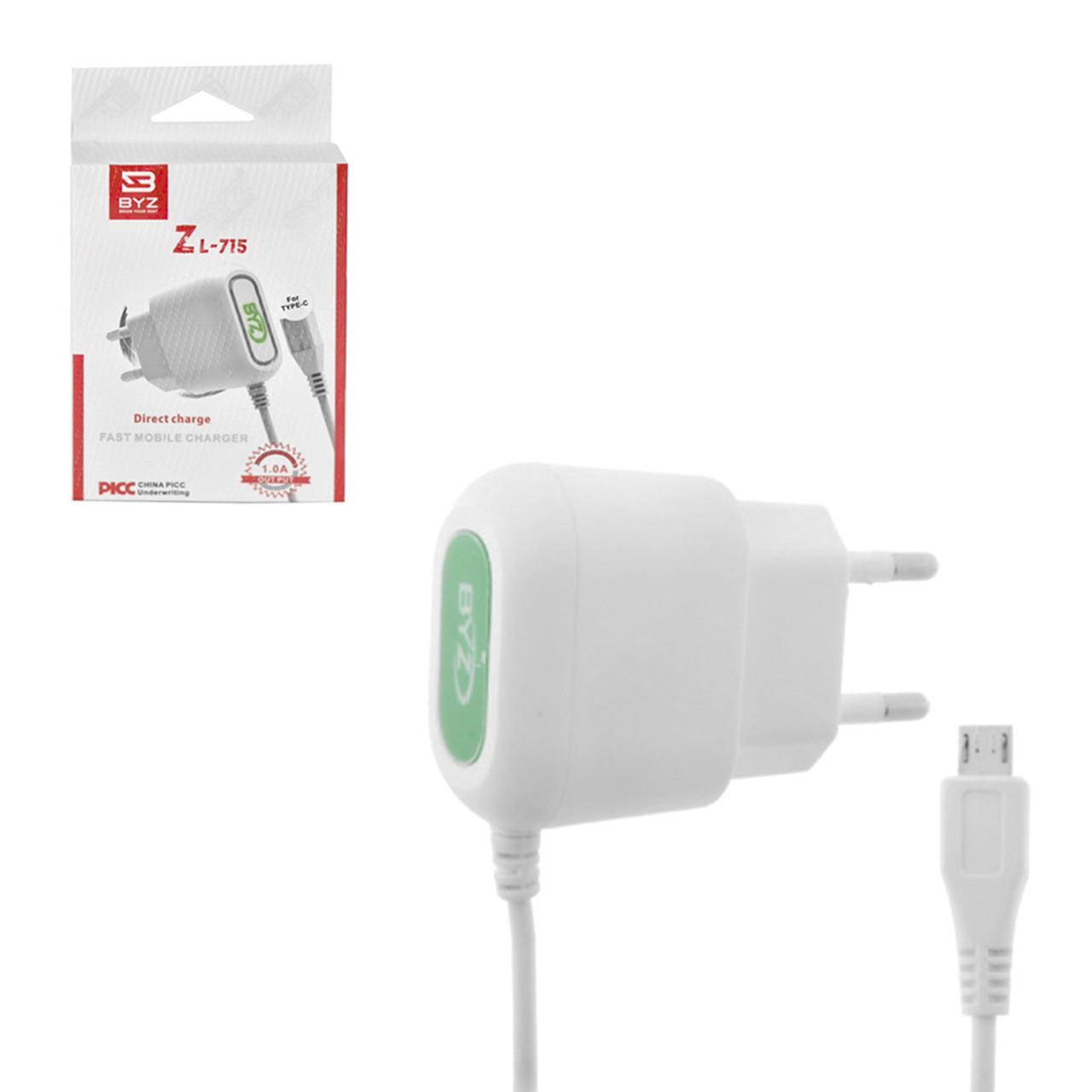 Сетевое зарядное устройство BYZ Zl-715 5V-1A Type-C White BOX