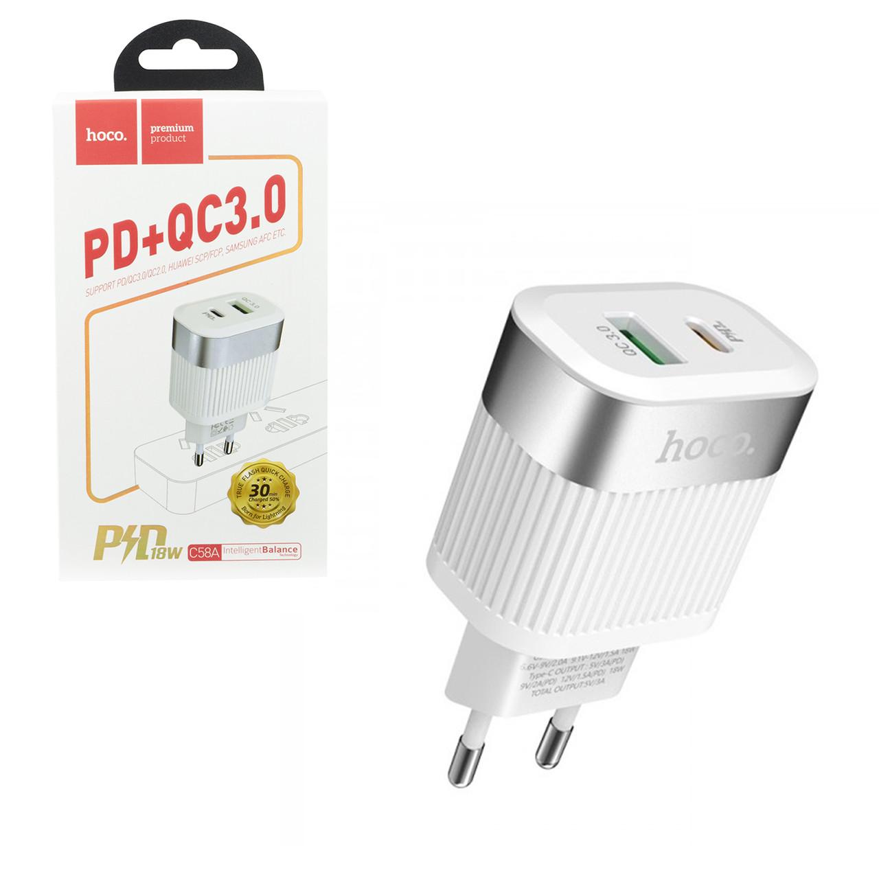 Сетевое зарядное устройство Hoco C58A PD+QC3.0 18W, White