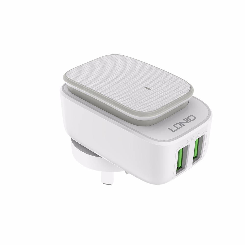 Сетевое зарядное устройство Ldnio A2205 2XUSB 2.4A с кабелем Micro USB + Led Touch Lamp White/Rose