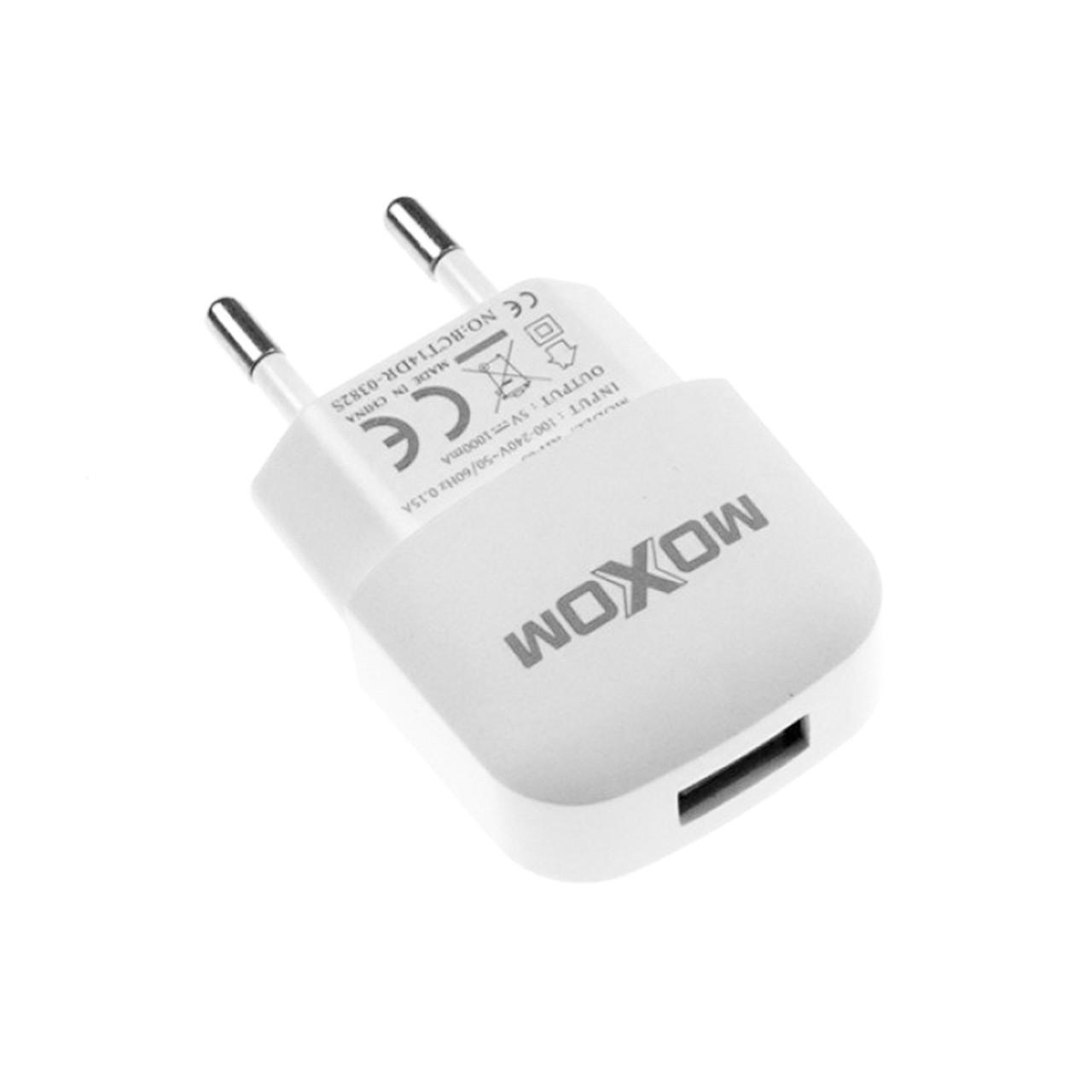 Сетевое зарядное устройство Moxom KH-05 с кабелем micro USB 1XUSB-1A White
