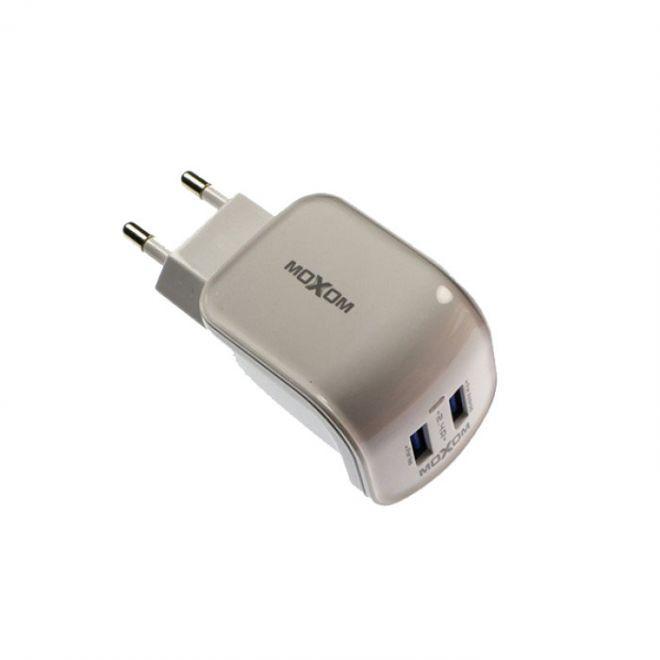 Сетевое зарядное устройство Moxom KH-25 с кабелем micro USB 2XUSB-2.4A White