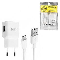 Сетевое зарядное устройство Samsung Caution Alfa 9V-1.6A/5V-2A 1USB c кабелем Type-C White