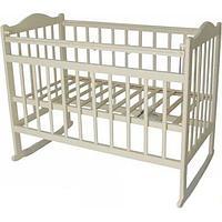 МОЙ МАЛЫШ МОЙ МАЛЫШ Кровать детская 01 колесо-качалка съемная боковая стенка слоновая кость -
