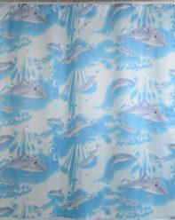 Штора для ванной 020А-02 (голубые дельфины)