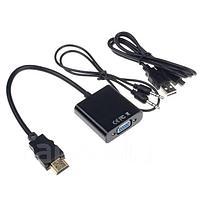 Конвертер hdmi vga с аудио Активный, переходник со звуком HDMI to VGA+3.5 audio (от HDMI на VGA) Активный