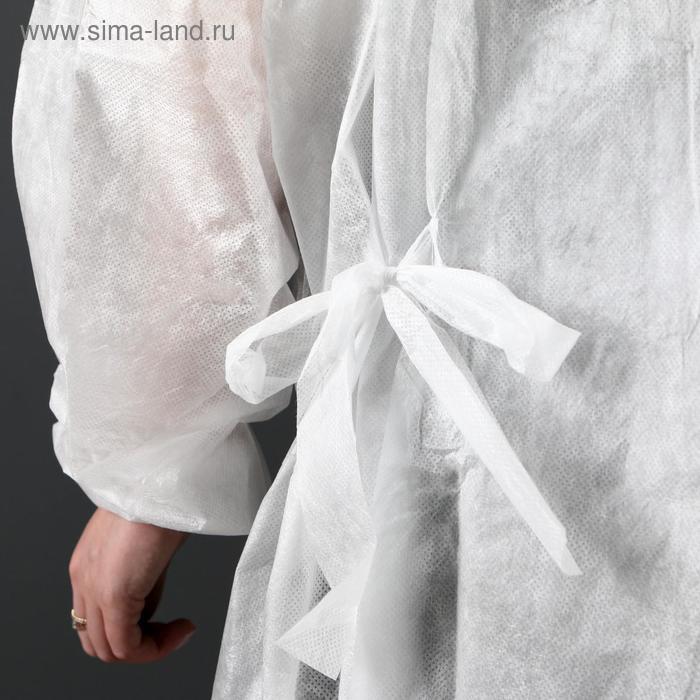 Халат хирургический на завязках, манжета на резинке 25 г/м2, размер 50-54, длина 140 см - фото 3