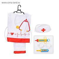 Игровой набор «Медик» штаны, накидка, колпак, стетоскоп, очки, шприц, градусник