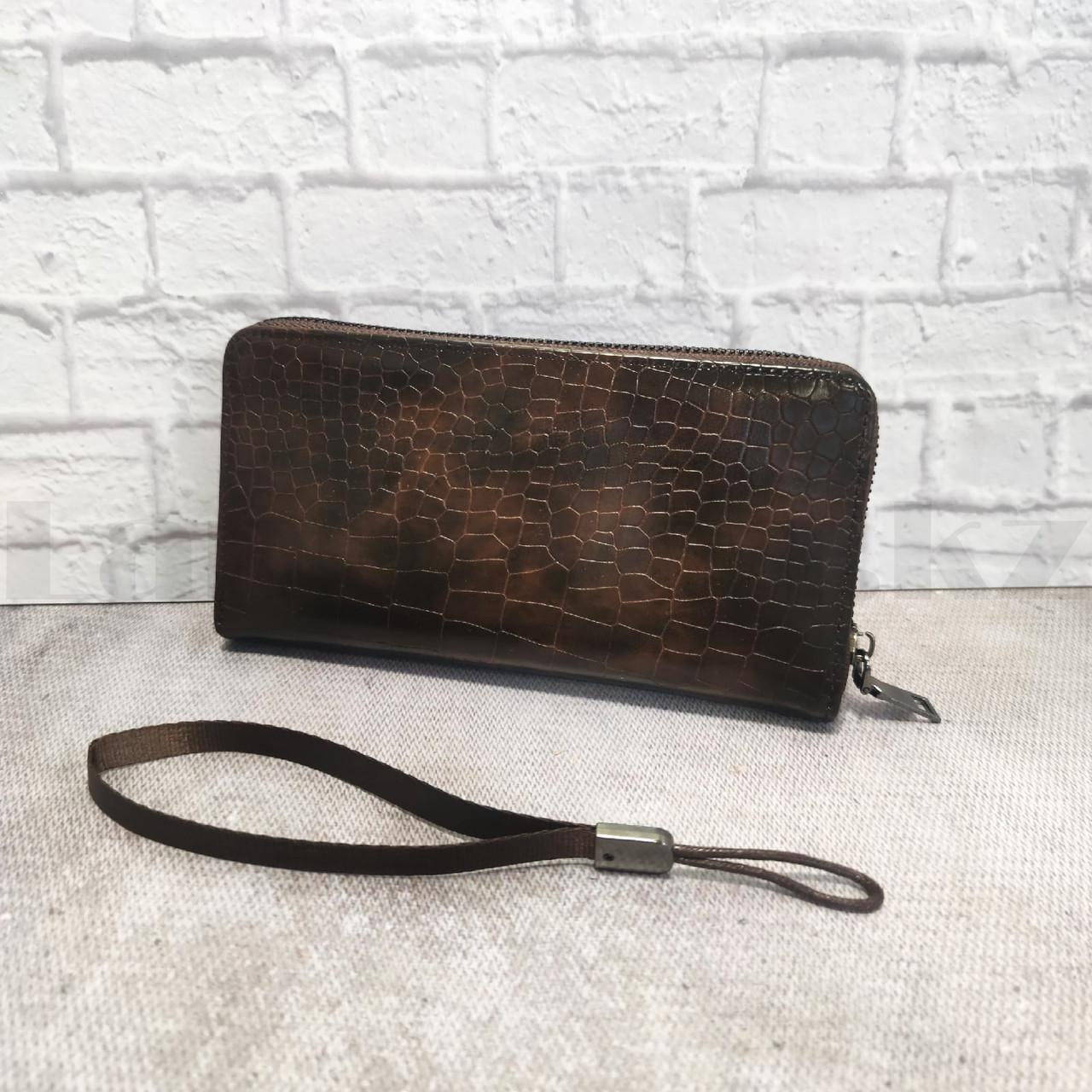 Портмоне со съемной визитницей кошелек кожаный темно-коричневый 341 - фото 9
