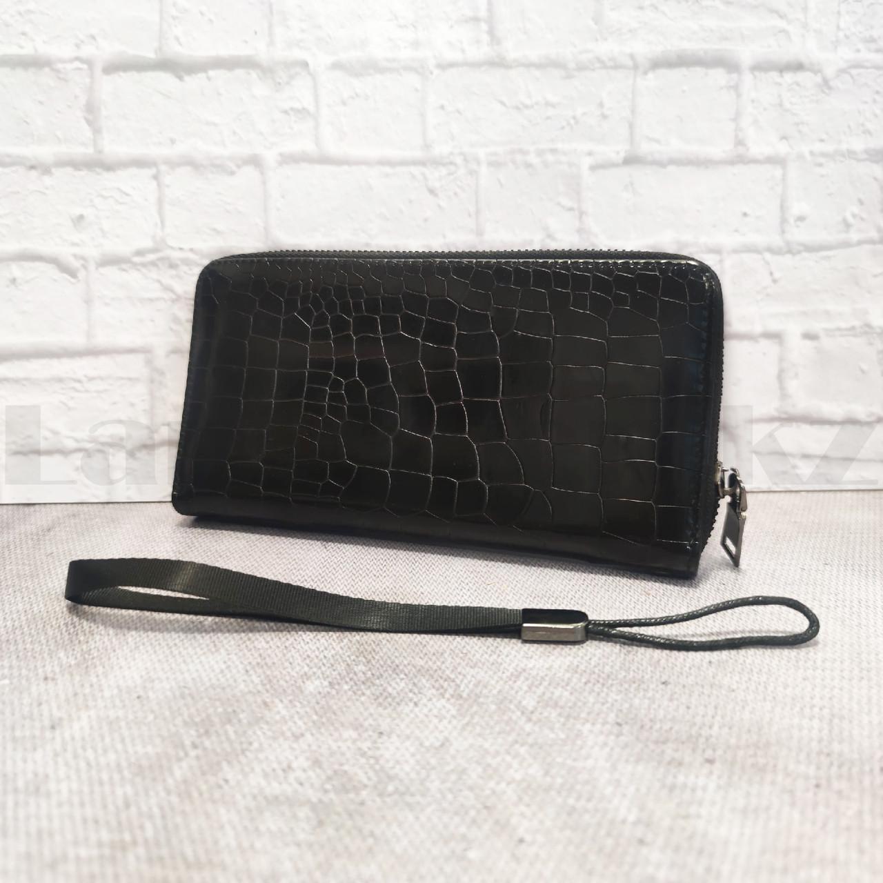 Портмоне со съемной визитницей кошелек кожаный черный 341 - фото 9