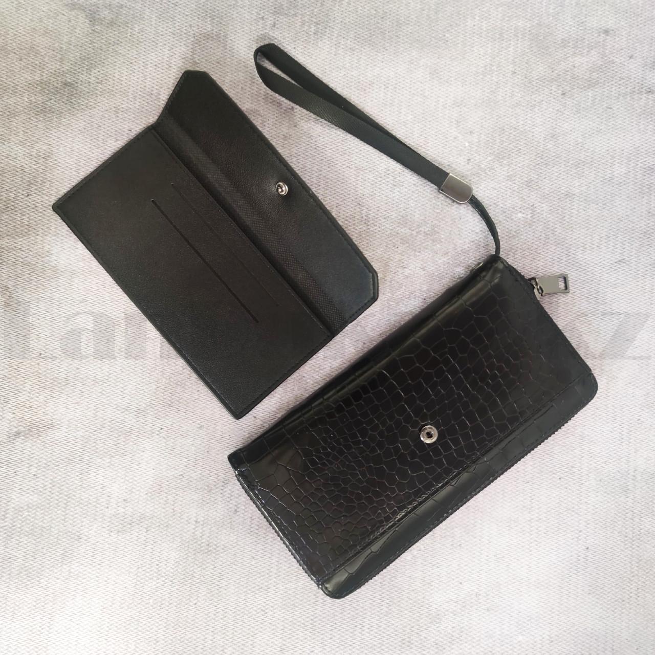 Портмоне со съемной визитницей кошелек кожаный черный 341 - фото 8