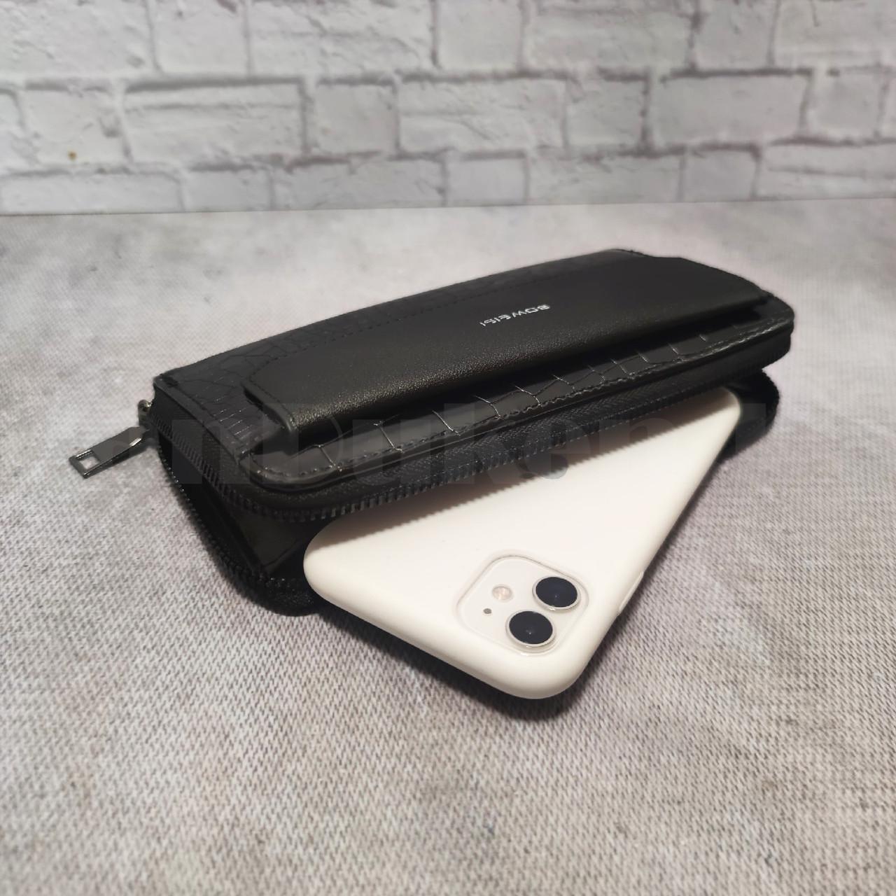Портмоне со съемной визитницей кошелек кожаный черный 341 - фото 7