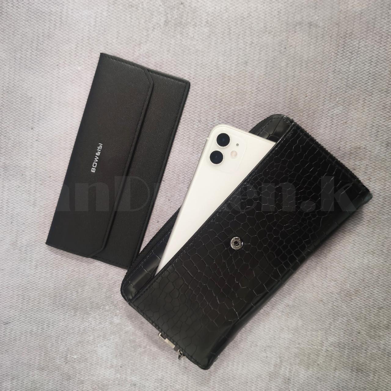 Портмоне со съемной визитницей кошелек кожаный черный 341 - фото 6