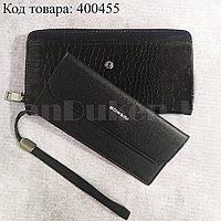 Портмоне со съемной визитницей кошелек кожаный черный 341