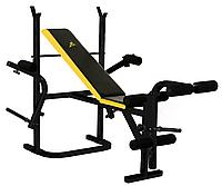 Силовая скамья DFC со стойками, черный, желтый, фото 1
