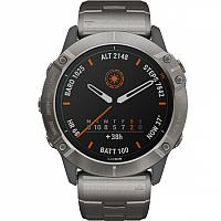 Спортивные часы Garmin FENIX 6X Pro Solar титановый с титановым браслетом, цвет светло-серый
