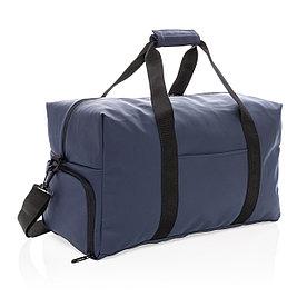 Спортивная сумка из гладкого полиуретана, темно-синяя