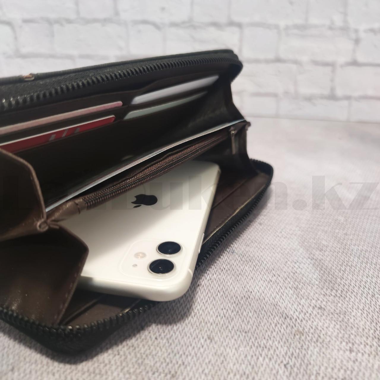 Портмоне визитница кошелек черный клатч 335 - фото 3