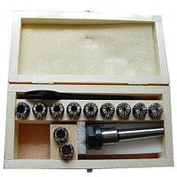 Патрон Цанговый с хвостовиком (конус морзе) КМ2 (М10х1.5) с набором цанг ER20 из 11шт (3-13мм)