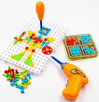 Развивающий детский конструктор мозаика с шуруповертом