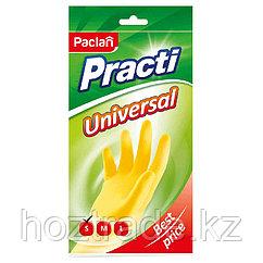 "Перчатки резиновые Paclan ""Practi.Universal"", р.S, желтые, пакет с европодвесом"