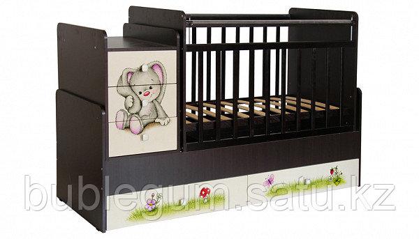 Кроватка-трансформер Фея 1100  венге-бежевый Зайчонок