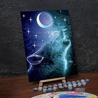 Лунная роспись по номерам без подрамника 'Волк, 30 х 40 см