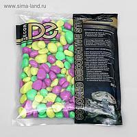 Галька декоративная, флуоресцентнная микс: лимонный, зеленый, пурпурный, 800 г, фр.8-12 мм