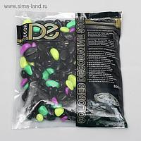 Галька флуоресцентная микс: черный, лимонный, зеленый, пурпурный, 800 г фр.8-12 мм