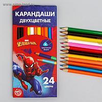 """Карандаши цветные 24 цвета, двухсторонние """"Супергерой"""", Человек-Паук"""