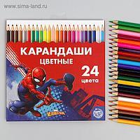 """Карандаши цветные, 24 цвета """"Супергерой"""", Человек-Паук"""