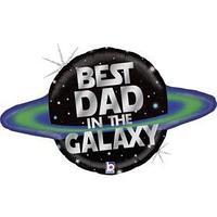 Шар фольгированный 31' 'Лучший папа в Галактике', фигрура, голография