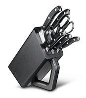 Набор из 6 кованых кухонных предметов: 5 ножей и ножницы, в подставке из бука