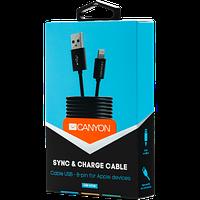 Простой кабель для синхронизации и зарядки 8-pin Lightning - USB 2.CANYON CFI-1 Lightning USB Cable for Apple