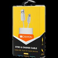Простой кабель для синхронизации и зарядки 8-pin, CANYON CFI-1 Lightning USB Cable for Apple