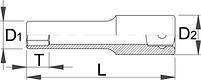"""Головка торцевая шестигранная удлинённая, 1/4"""" - 188/2L6p UNIOR, фото 2"""