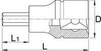 """Головка торцевая с шестигранником, 1/4"""" - 187/2HX UNIOR, фото 2"""