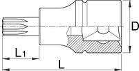 """Головка торцевая со вставкой TORX, 1/4"""" - 187/2TX UNIOR, фото 2"""