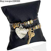 Парные браслеты для влюбленных соединяющиеся Сердце с ключиком