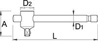 """Вороток Т-образный, 1/4"""" - 188.3/2 UNIOR, фото 2"""