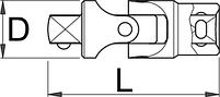 "Шарнир карданный, 1/4"" - 188.6/2 UNIOR, фото 2"