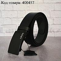 Ремень мужской кожаный с автоматической пряжкой-зажимом черный 001