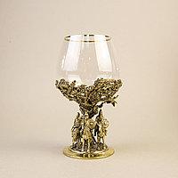 Три БОГАТЫРЯ. Подарочный кубок из массивной бронзы и стекла.